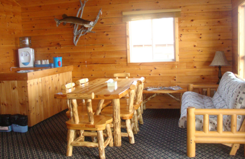 Cabin living room at Maynard Lake Lodge and Outpost.
