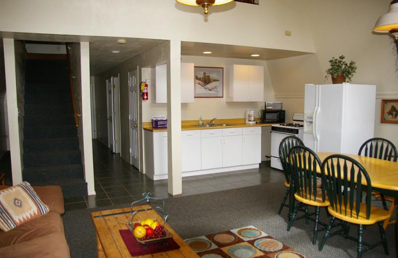 Cabin kitchen at Echo Basin Cabin And RV Resort.