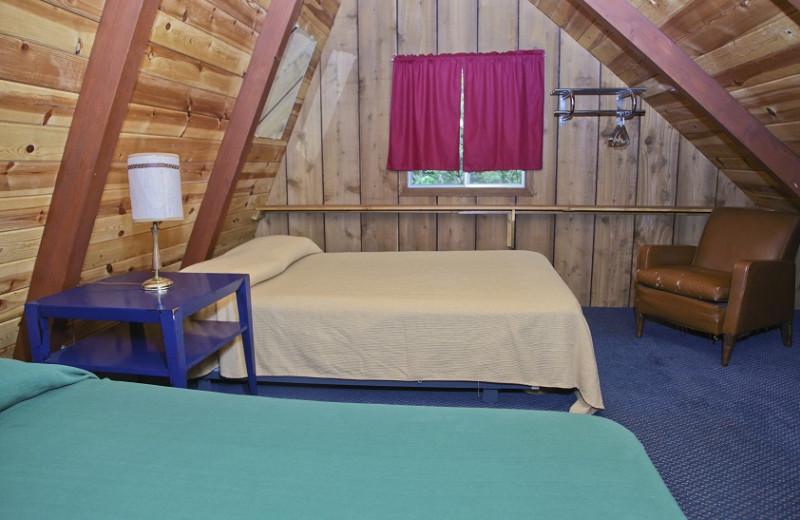 Cottage bedroom at Thunder Lake Lodge.
