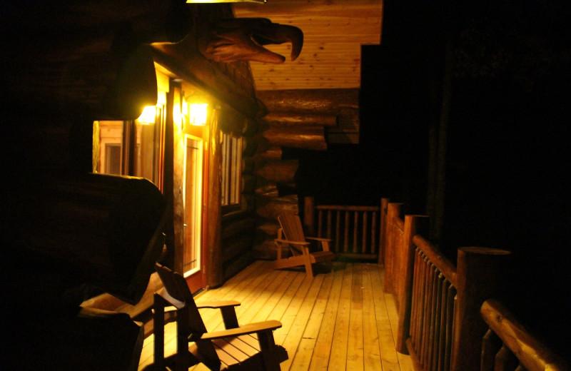 Cabin deck at Aqua Log Cabin Resort.