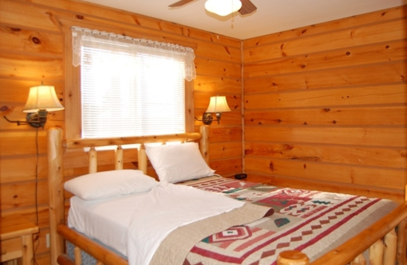 Cabin bedroom at Warrens Lodging.