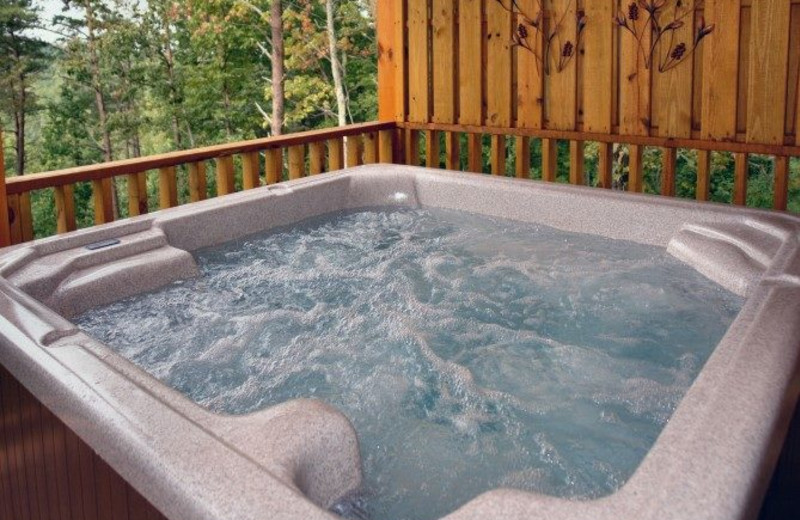 Cabin hot tub at Little Valley Mountain Resort.