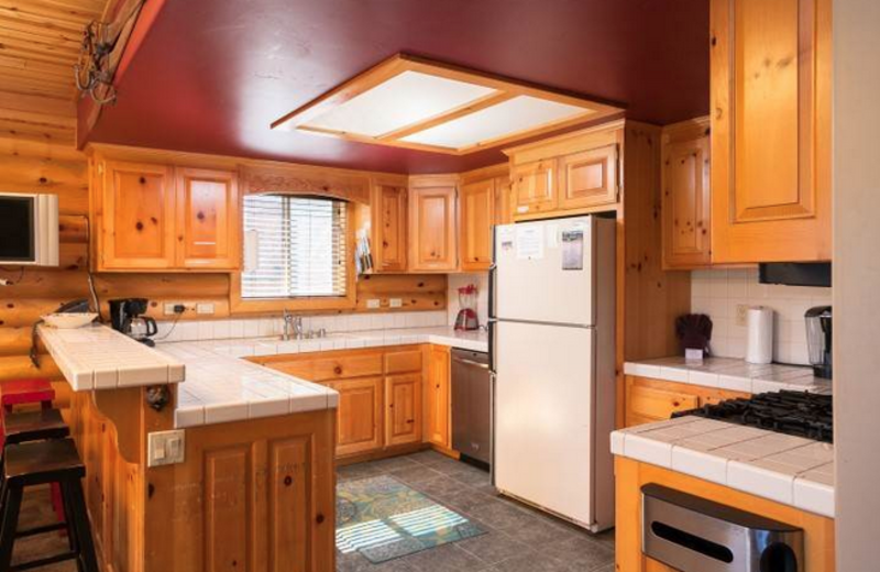 Rental kitchen at Big Bear Cool Cabins.