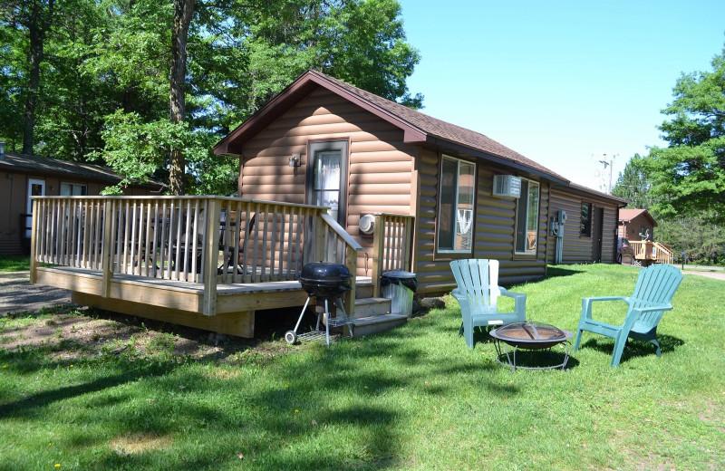 Cabin exterior at Sand Lake Resort.