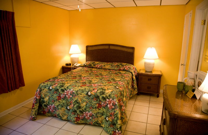 Guest bedroom at Rock Reef Resort.
