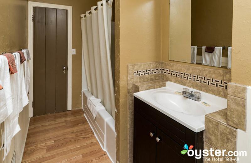 Cabin bathroom at Birchcliff Resort.