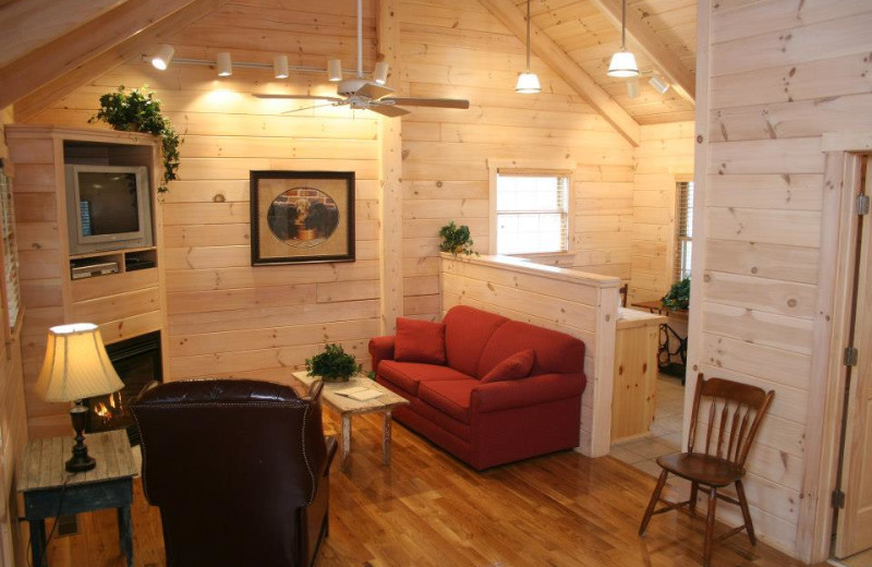 Great Escape cabin living room at New River Trail Cabins.
