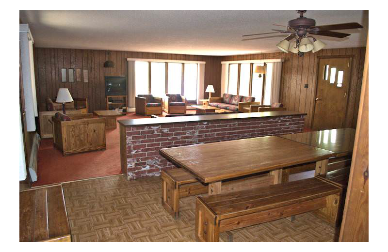 Cabin interior at Silver Rapids Lodge.