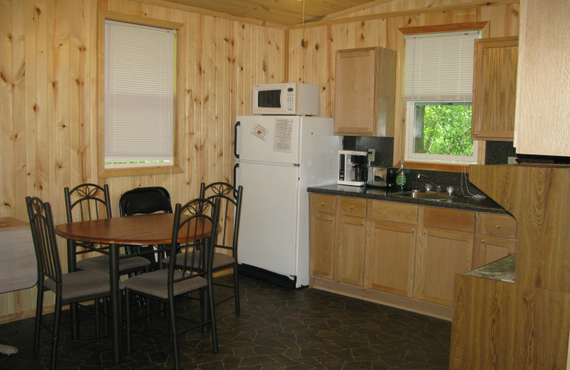 Cabin kitchen at Harris Hill Resort.