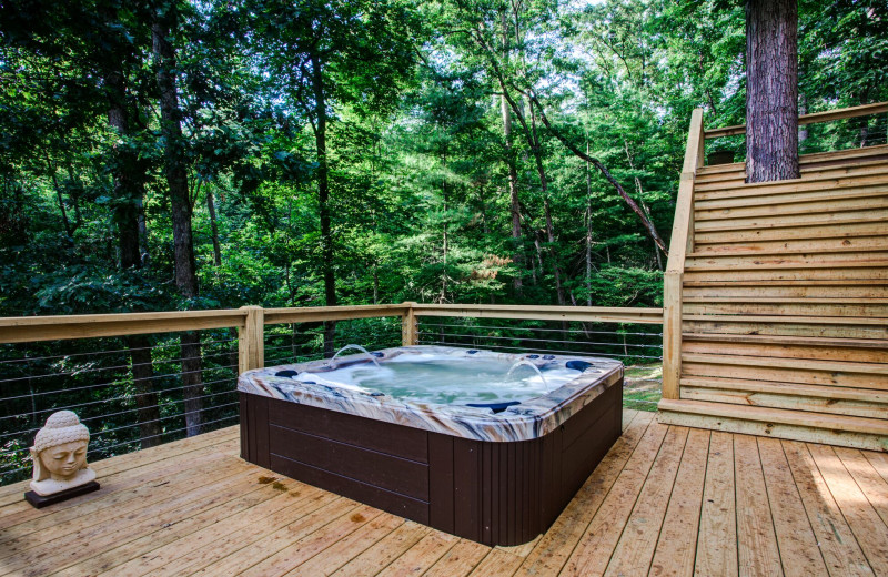 Rental hot tub at Yonder Luxury Vacation Rentals.