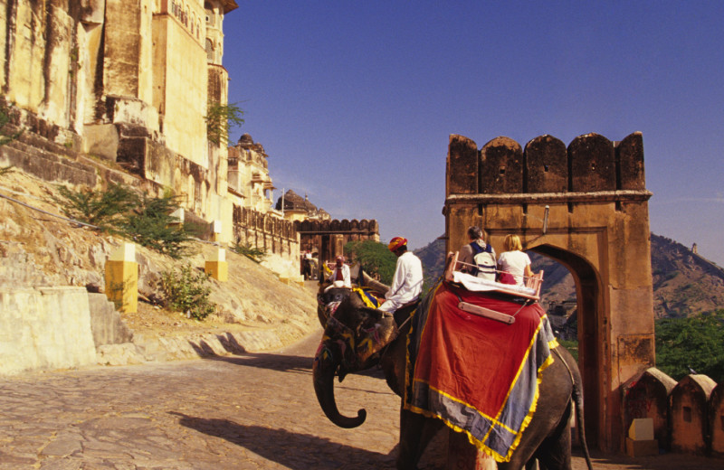 Elephant safari at Rajvilas - An Oberoi Hotel.