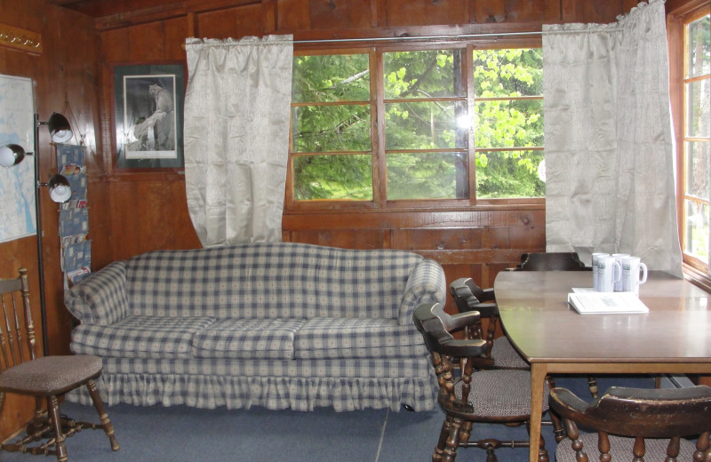 Cottage interior at Pine Point Lodge.