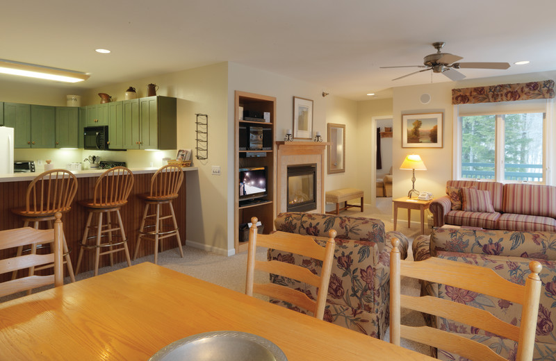 Guest kitchen and living room at Smugglers' Notch Resort.
