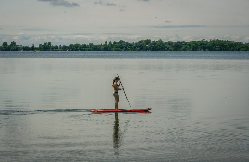 Paddle boarding at Ten Mile Lake Resort.