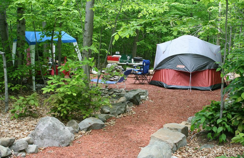 Tent site at Hemlock Campground & Cottages.