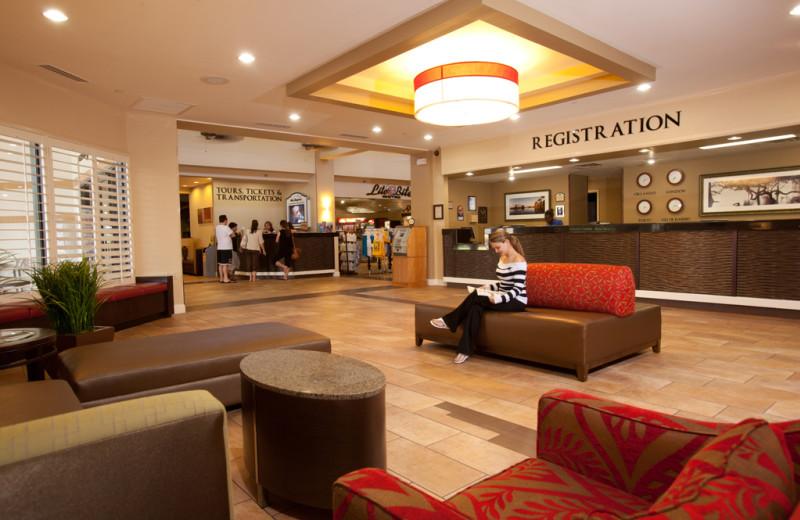 Hotel lobby at Clarion Inn Lake Buena Vista.