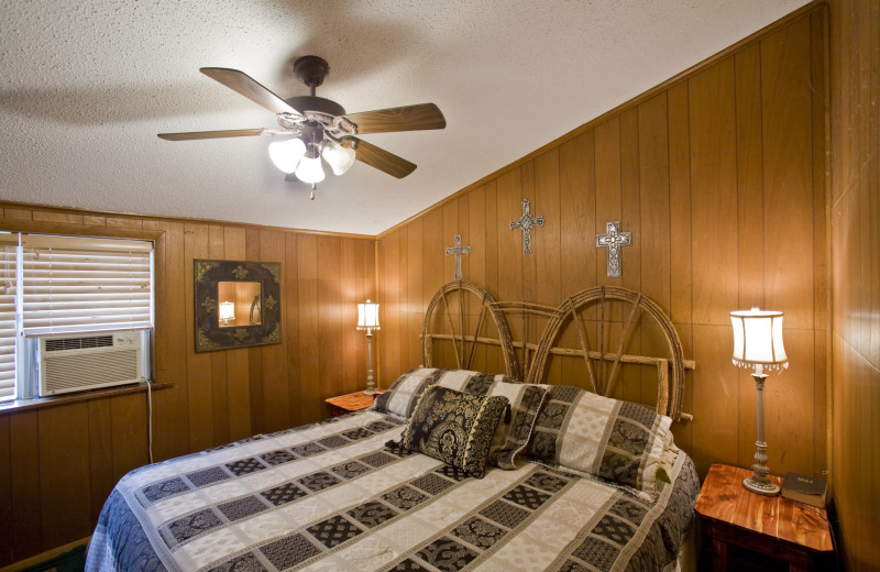 Cabin bedroom at Panther Valley Ranch.