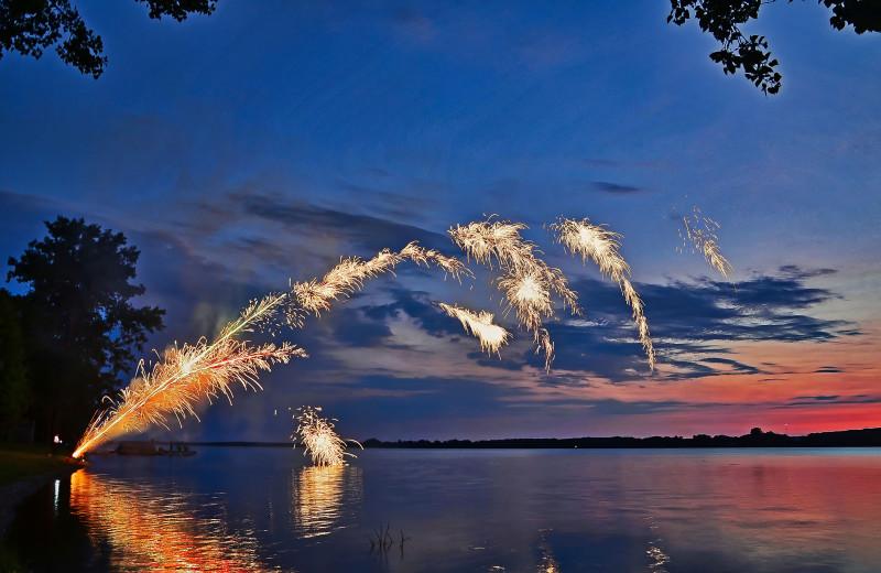 Fireworks at Sandbanks Summer Village Cottage Resort.