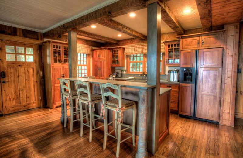 Rental kitchen at Yonder Luxury Vacation Rentals.