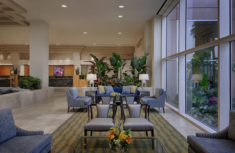Hotel lobby at Moody Gardens Hotel.
