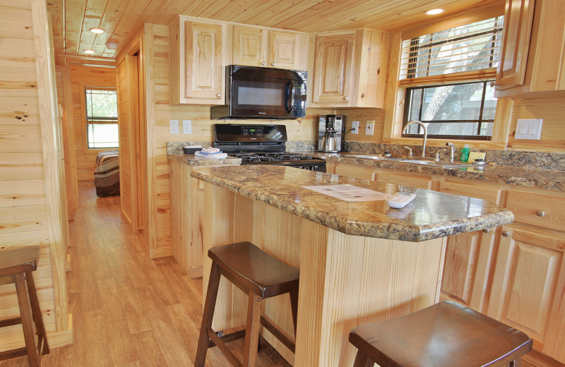 Cabin kitchen at Yogi Bear's Jellystone Park™ Guadalupe River.