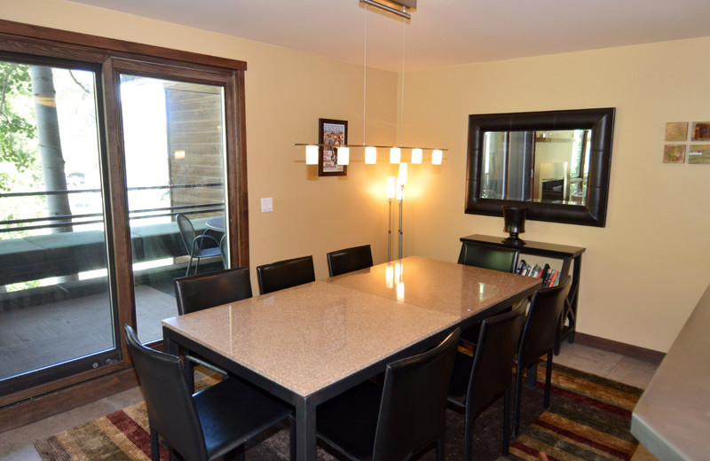 Rental dining area at Frias Properties of Aspen - Mountain Queen #5.