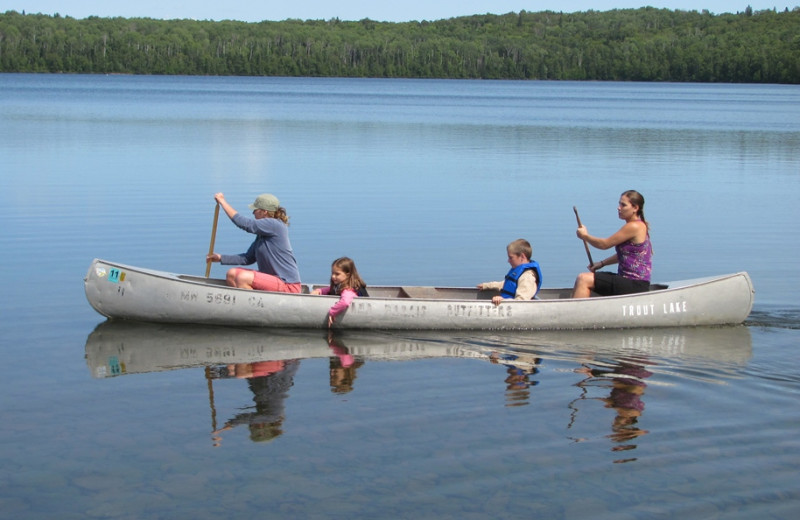 Canoeing at Trout Lake Resort.