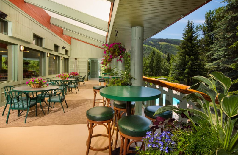 Patio at Evergreen Lodge.
