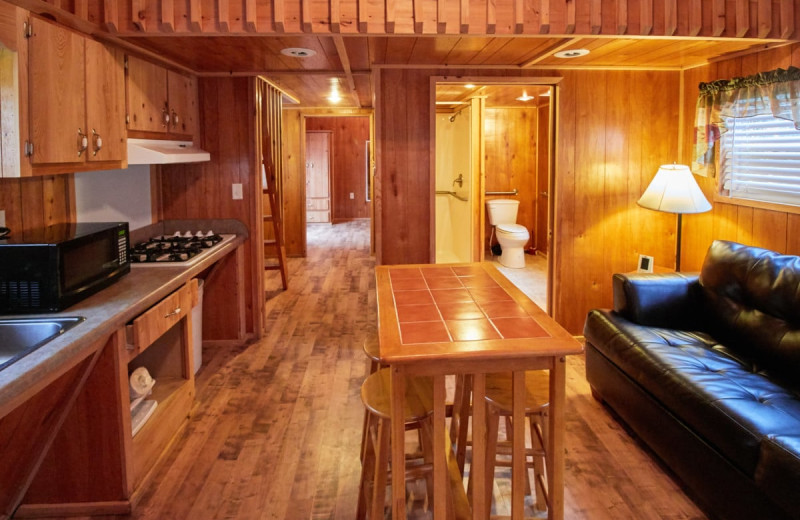 Cabin living room at Lone Star Jellystone.