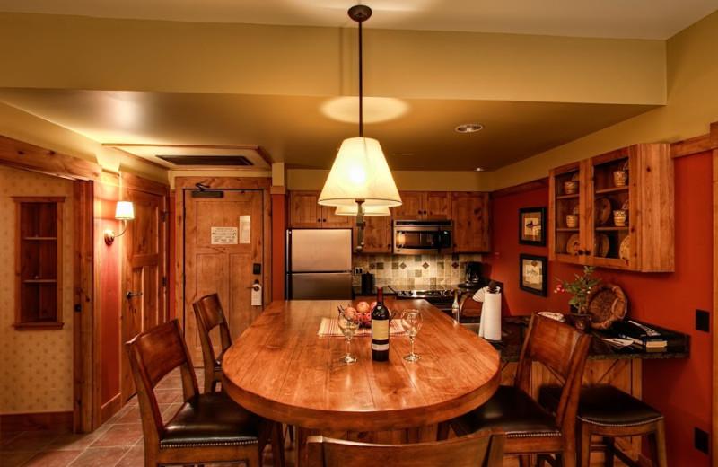 Cabin dining room at Teton Springs Lodge.