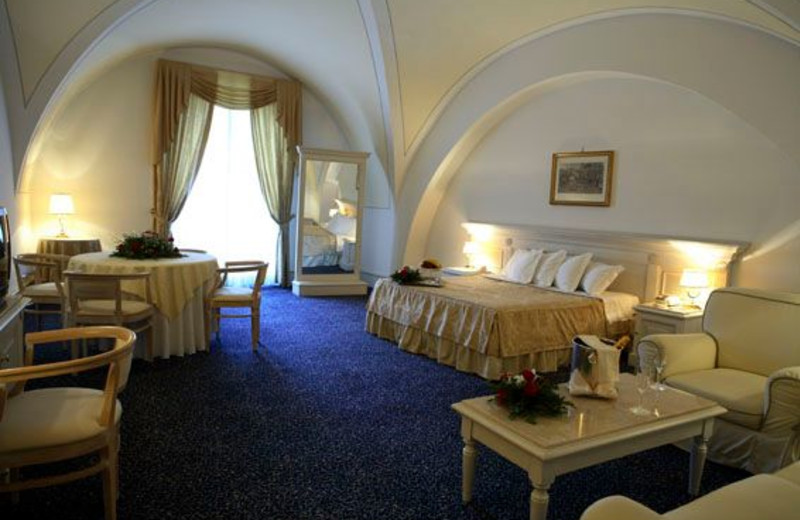 Guest room at Castello Chiola Hotel.