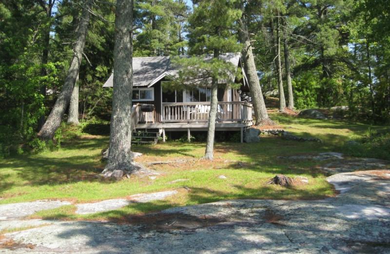 Cabin exterior at Voyageur Park Lodge.