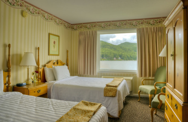 Two bed guest room at Lake Morey Resort.