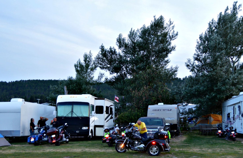 RV park at No Name City Luxury Cabins.