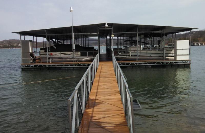 Dock at Pine Ridge Log Cabins.