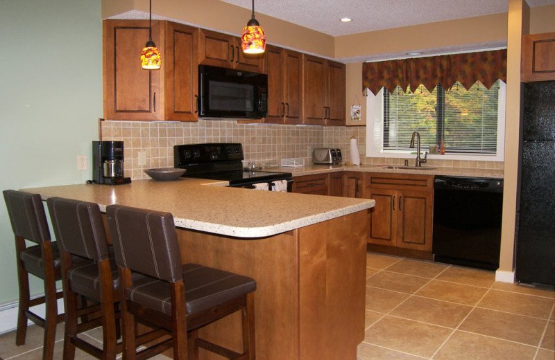 Vacation rental kitchen at Loon Reservation Service.