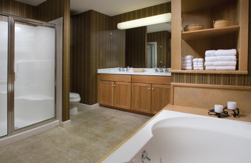 Rental bathroom at Smugglers' Notch Resort.