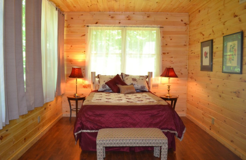 Cabin bedroom at Sautee Resorts.