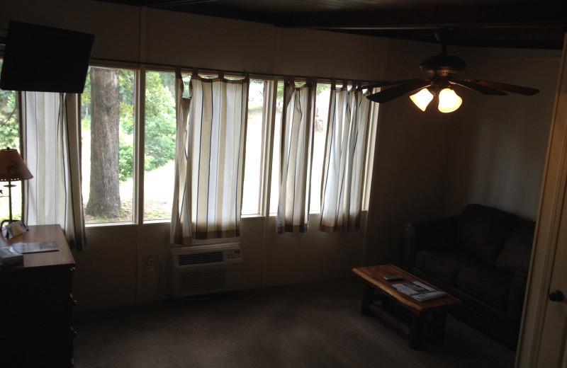 Cabin living room at Brady Mountain Resort & Marina.