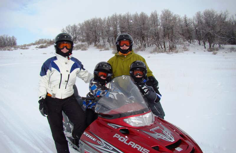 Snowmobiling at Vista Verde Ranch.