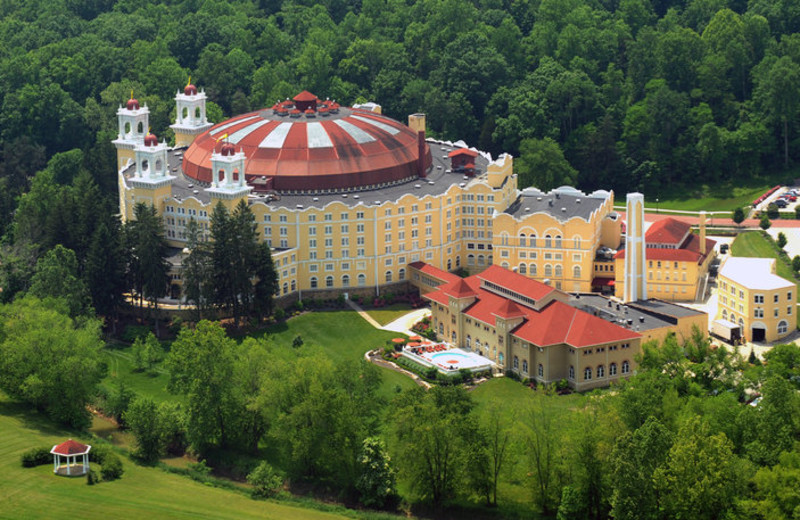 Aerial view of French Lick Resort.