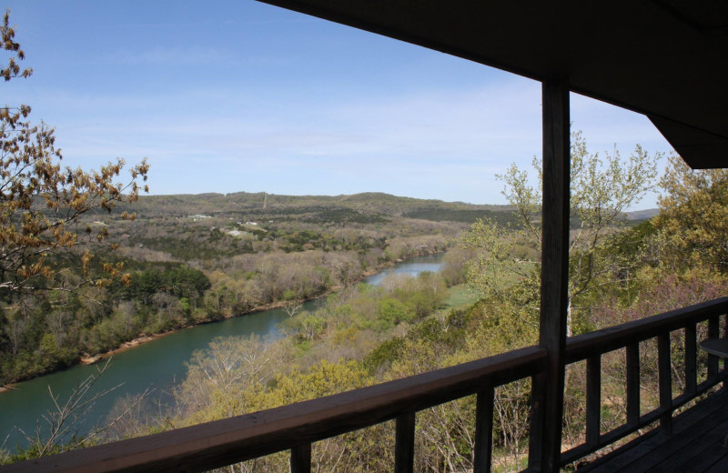 Deck view at Arkansas White River Cabins.