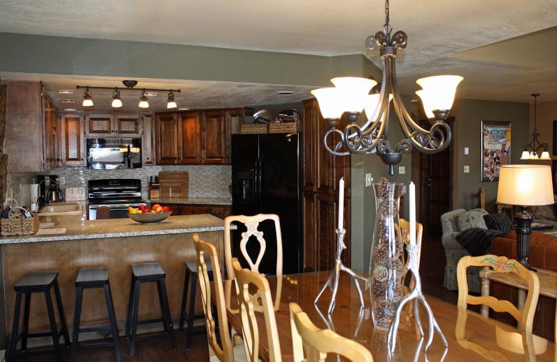 Guest kitchen at Cascade Village Condominiums.