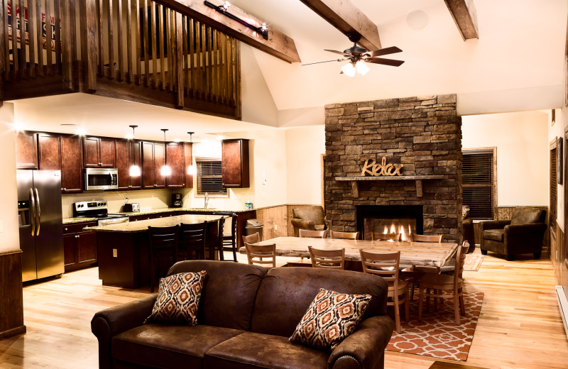 Rental living room at Pocono Mountain Rentals.