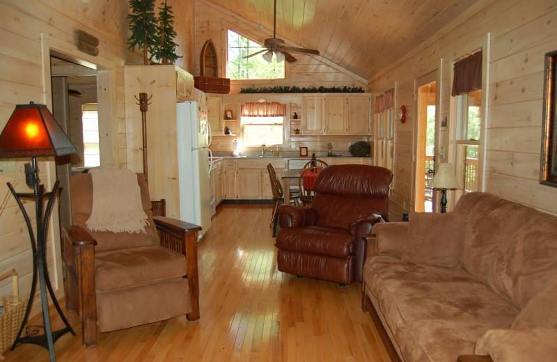 Cabin interior at Cuddle Up Cabin Rentals.