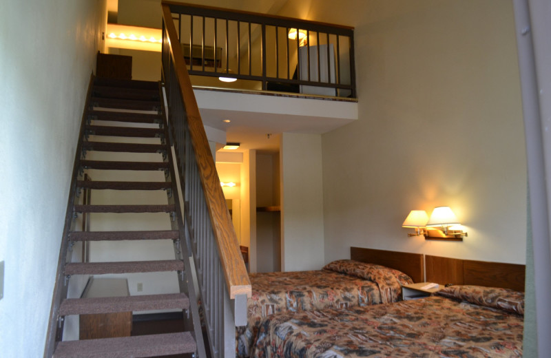 Guest room at YMCA Trout Lodge & Camp Lakewood.