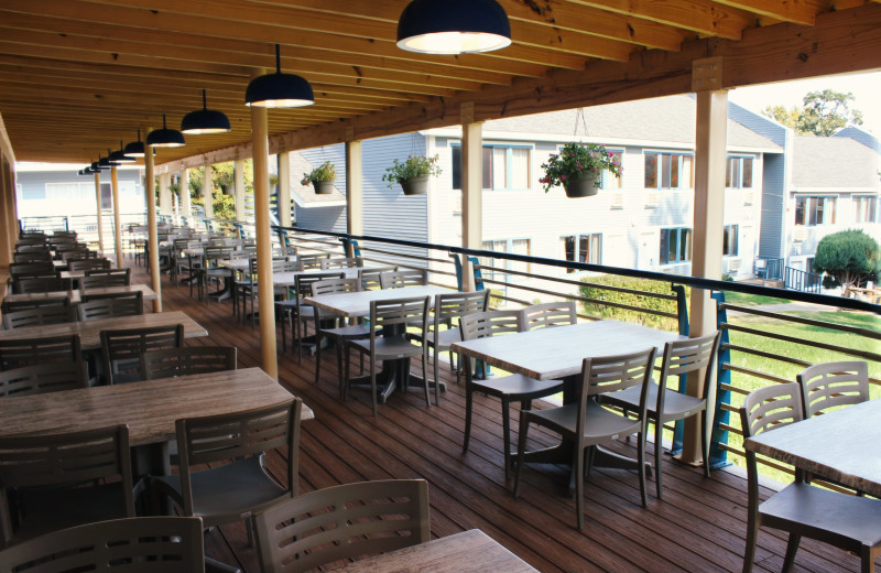 Patio at  Surfside on the Lake Hotel & Suites.