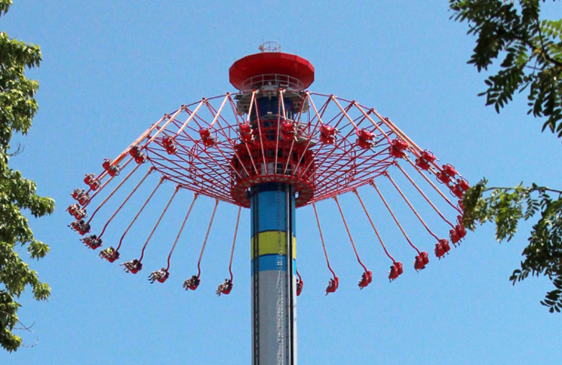 Thrill rides at Cedar Point Resort.