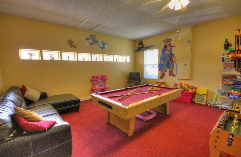 Vacation rental game room at Elite Vacation Homes.
