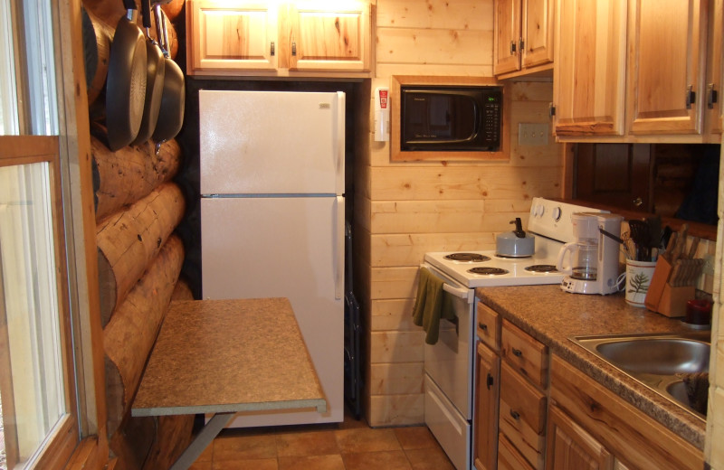 Rental kitchen at Creeks Crossing Cabins.